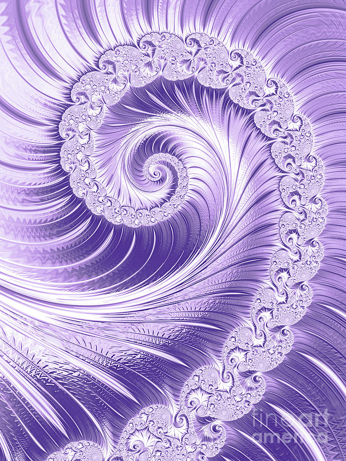 Ombre Digital Art - Ultra Violet Luxe Spiral by Anna Bliokh