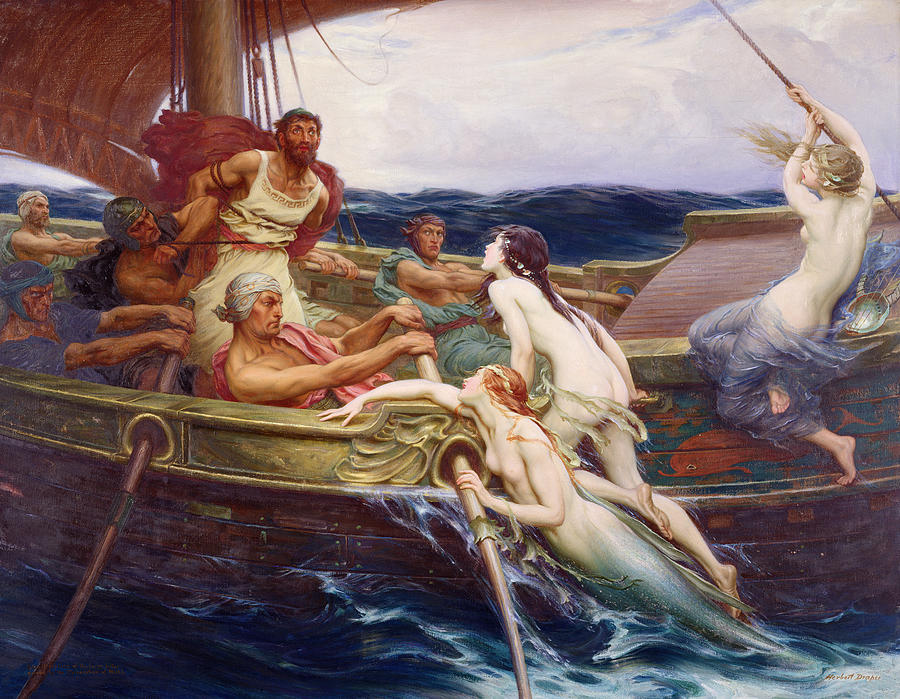 Ulysses And The Sirens Painting - Ulysses And The Sirens by Herbert James Draper