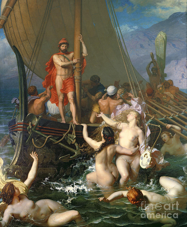 Ulysses Painting - Ulysses And The Sirens by Leon Auguste Adolphe Belly