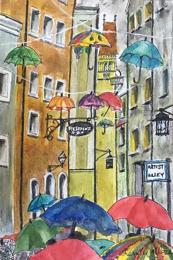 Passau Painting - Umbrella Celebration by Cheryl Wallace