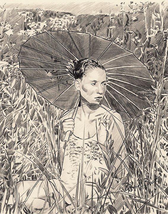 Umbrella Drawing by Darryl Barnes
