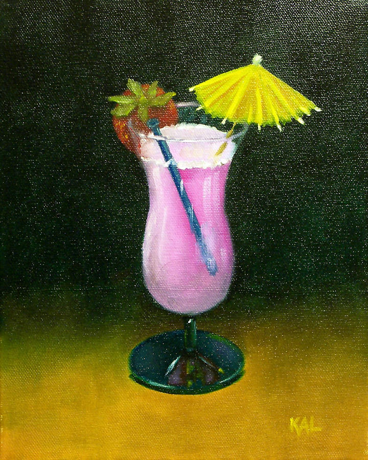 Umbrella Painting - Umbrella Drink With Strawberry by Kathy Lumsden