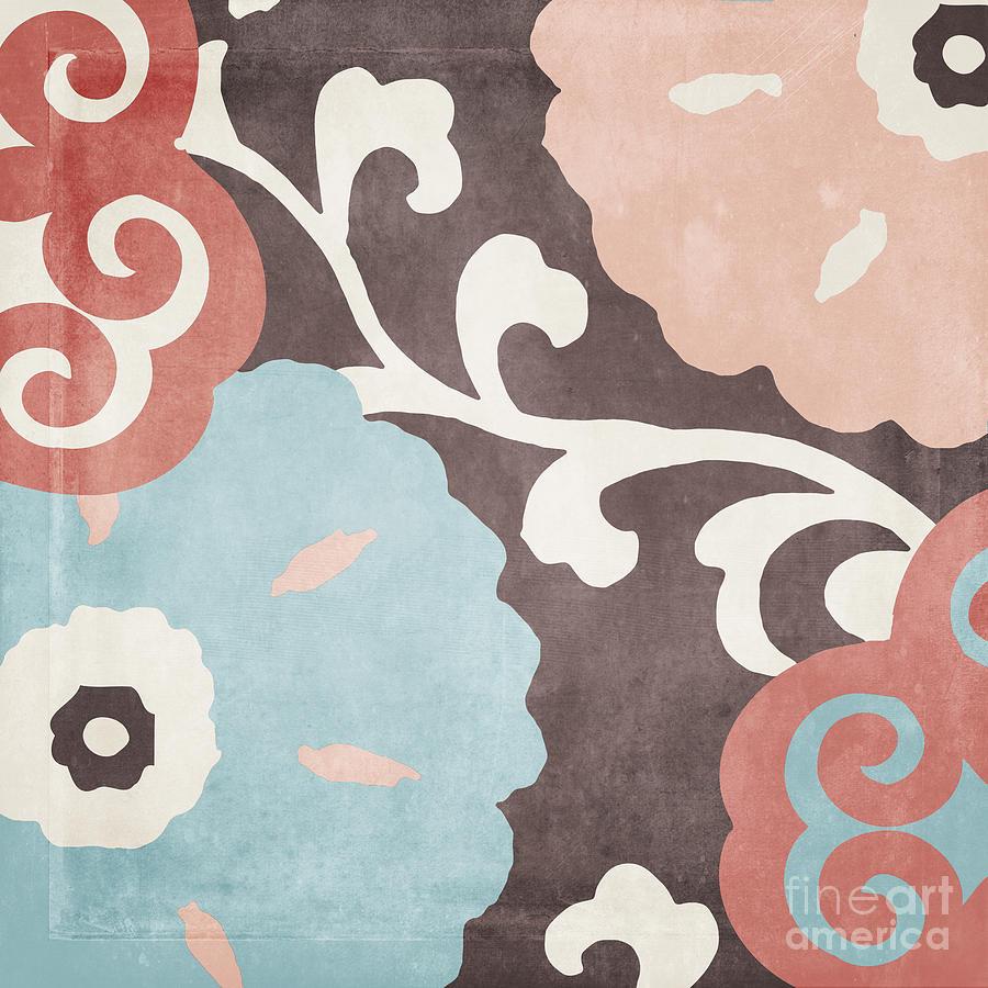 Suzani Painting - Umbrella Skies II Suzani Pattern by Mindy Sommers