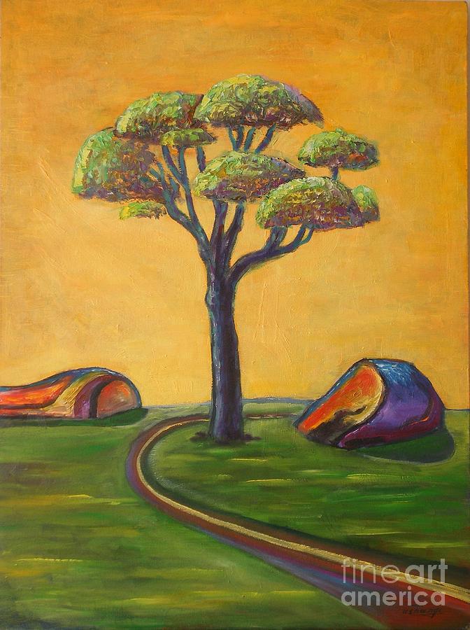 Tree Painting - Umbrella Tree by Ushangi Kumelashvili