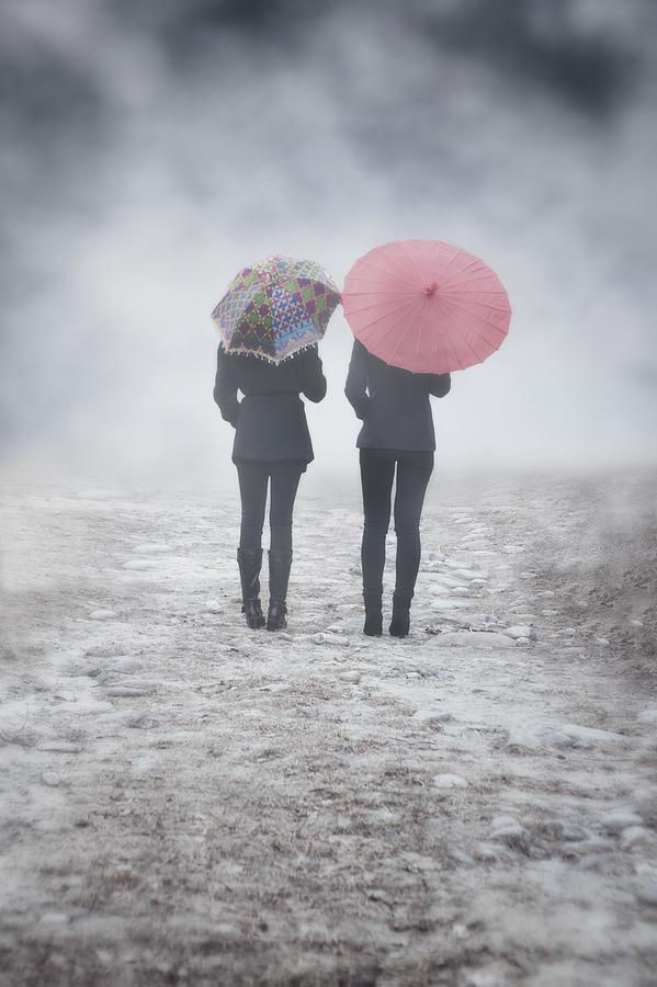 Girl Photograph - Umbrellas In The Mist by Joana Kruse