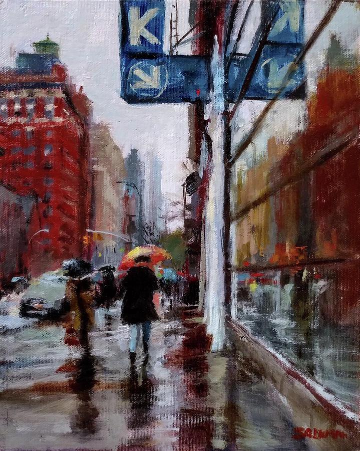 New York Painting - Umbrellas On Amsterdam Aveune by Peter Salwen