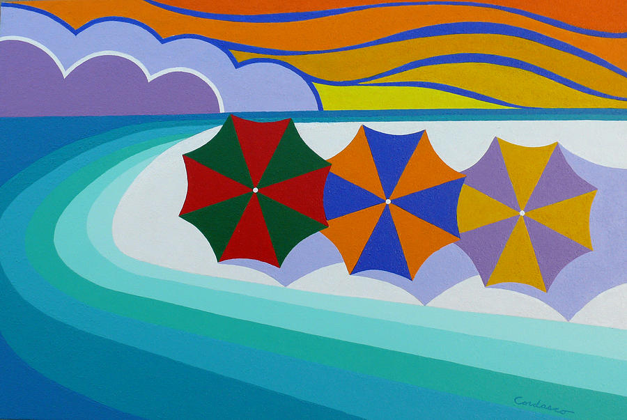 Beach Painting - Umbrellas On The Beach by James Cordasco