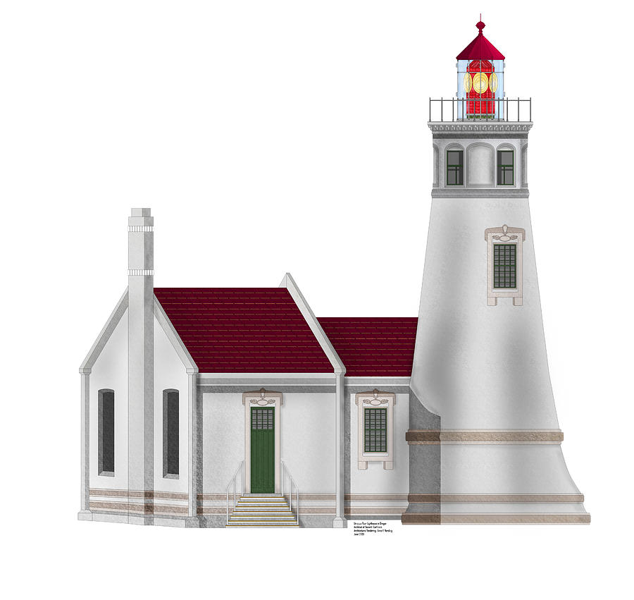 Lighthouse Painting - Umpqua River Lighthouse  In Oregon by Anne Norskog