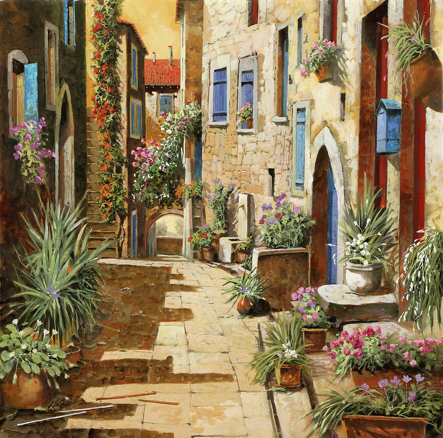 Marvelous Courtyard Painting   Un Bellu0027interno By Guido Borelli