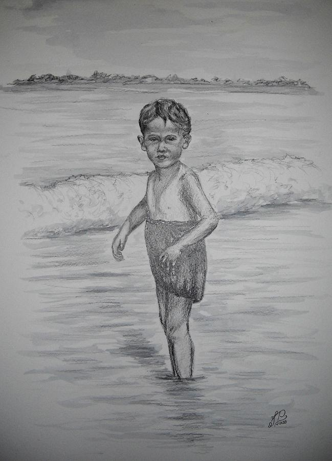 Un Dia En La Playa Drawing by Justyna Pastuszka