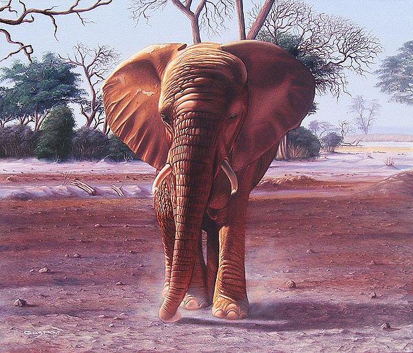 Elephant Painting - Un Elefante Demasiado Cerca by Sergio Gaspar