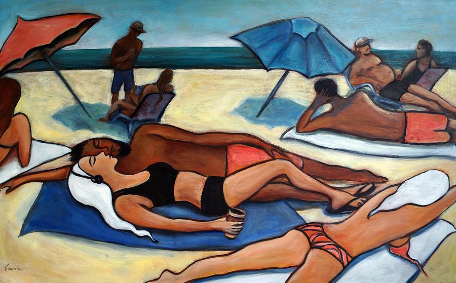 Beach Scene Painting - Un Journee a la plage by Valerie Vescovi