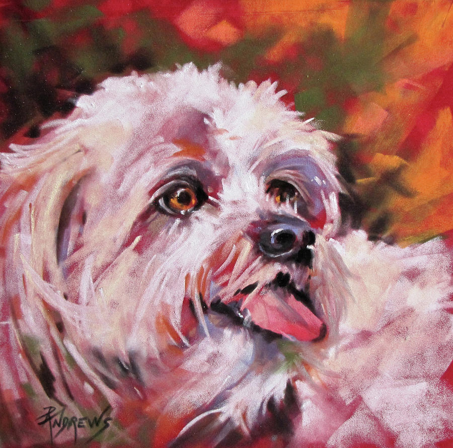 Dog Painting - Un Petit Chien by Rae Andrews