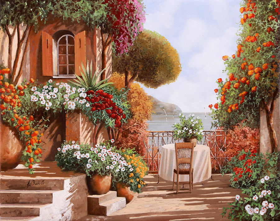 Terrace Painting - Una Sedia In Attesa by Guido Borelli