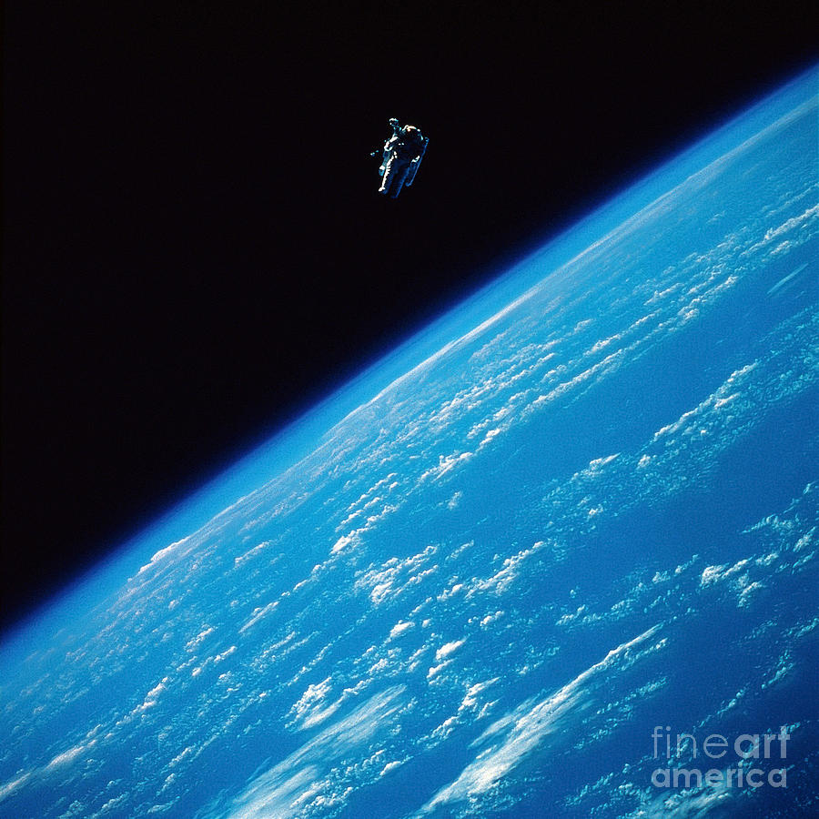 Color Image Photograph - Unattached Space Walk by Stocktrek Images