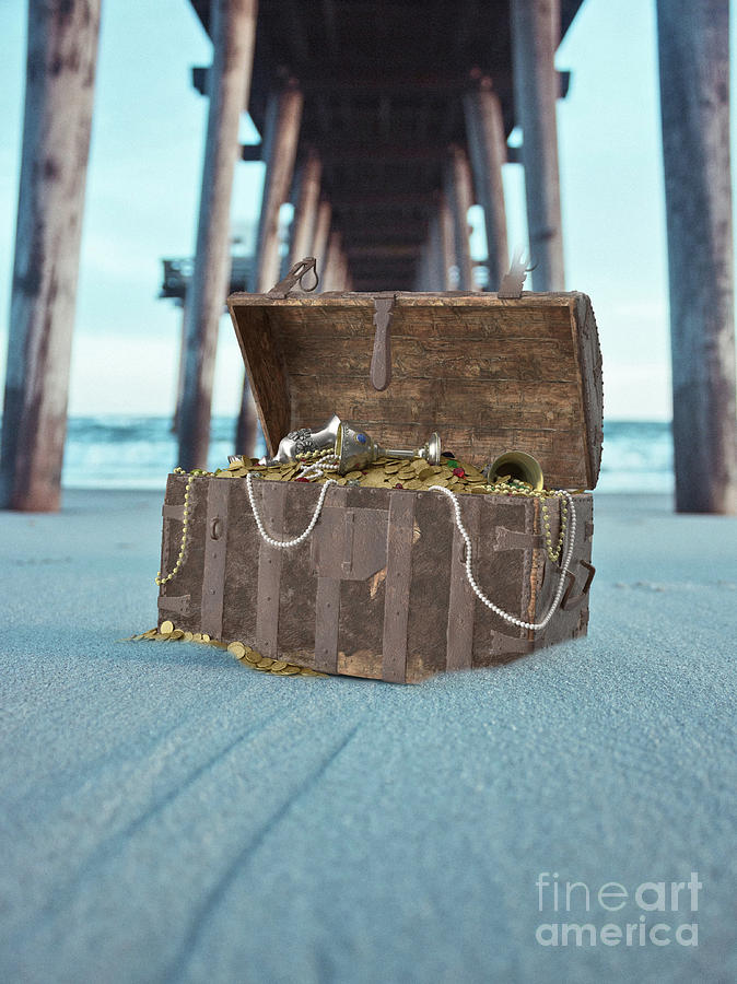 Pirate Photograph - Unburied Pirate Treasure Surreal by Edward Fielding