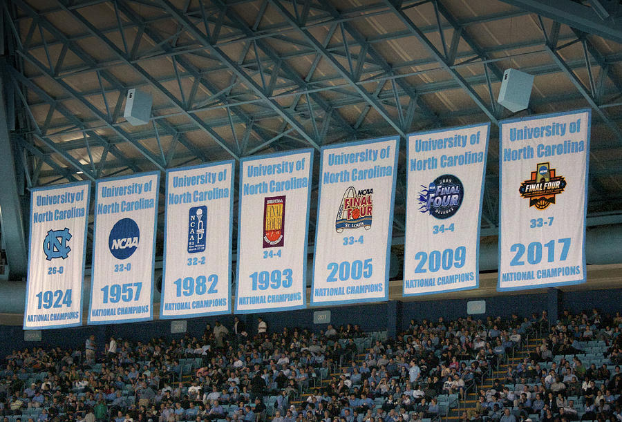 Hoops Photograph - UNC-CH Championship Banners by Orange Cat Art