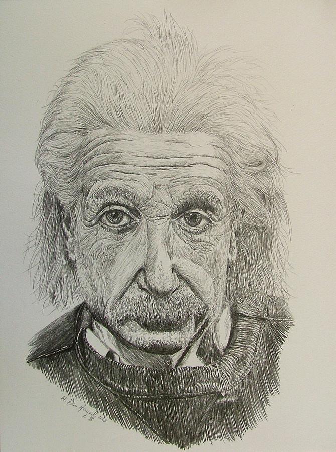 Einstein Drawing - Uncle Albert by Dan Hausel