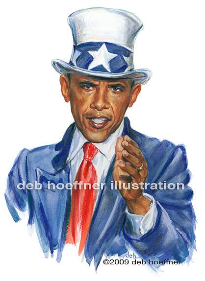 Obama Painting - Uncle Sam Obama by Deb Hoeffner