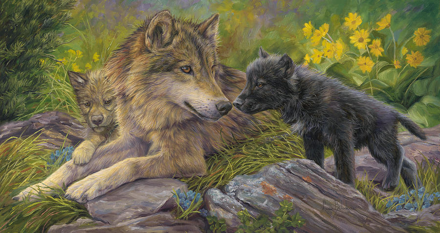 Wolf Painting - Unconditional Love by Lucie Bilodeau