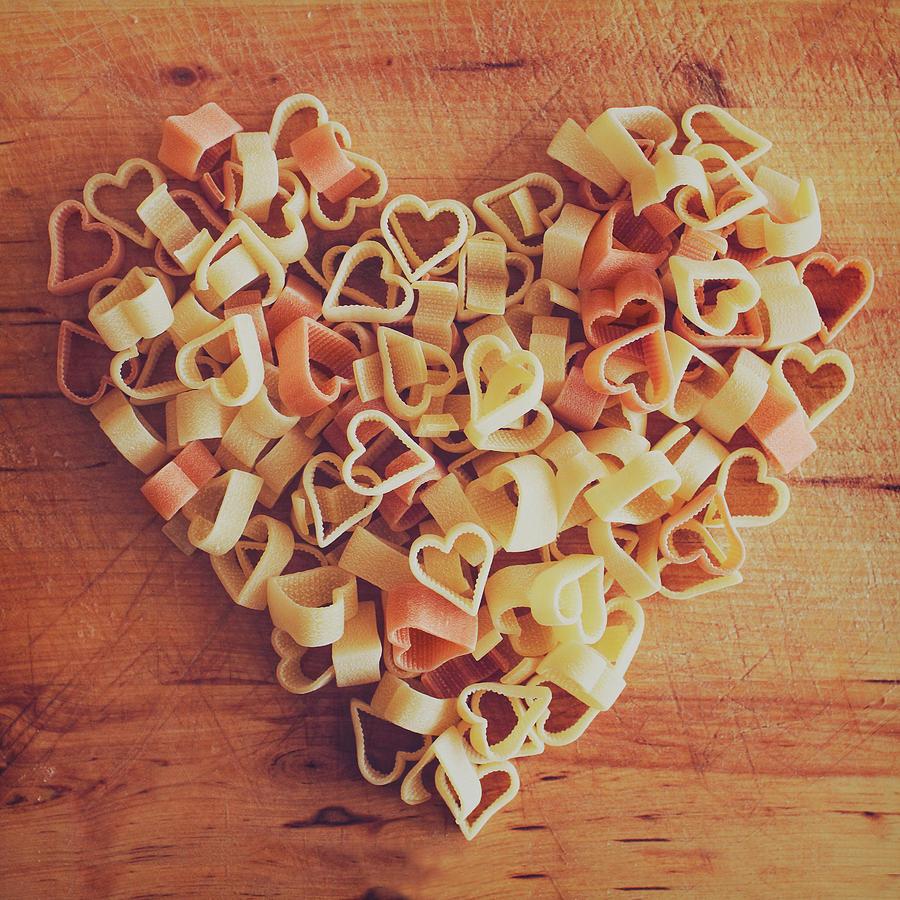 Square Photograph - Uncooked Heart-shaped Pasta by Julia Davila-Lampe