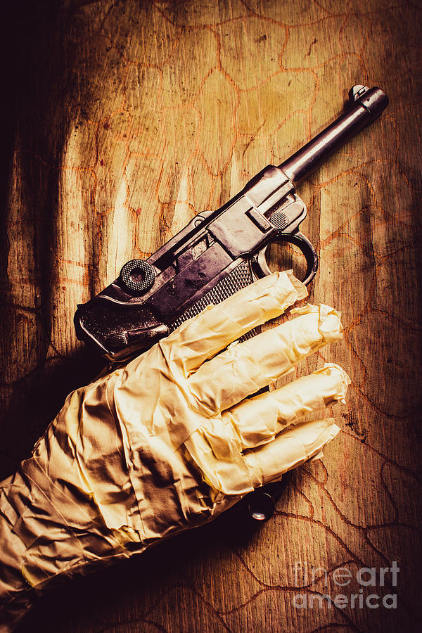 Curse Photograph - Undead Mummy  Holding Handgun Against Wooden Wall by Jorgo Photography - Wall Art Gallery