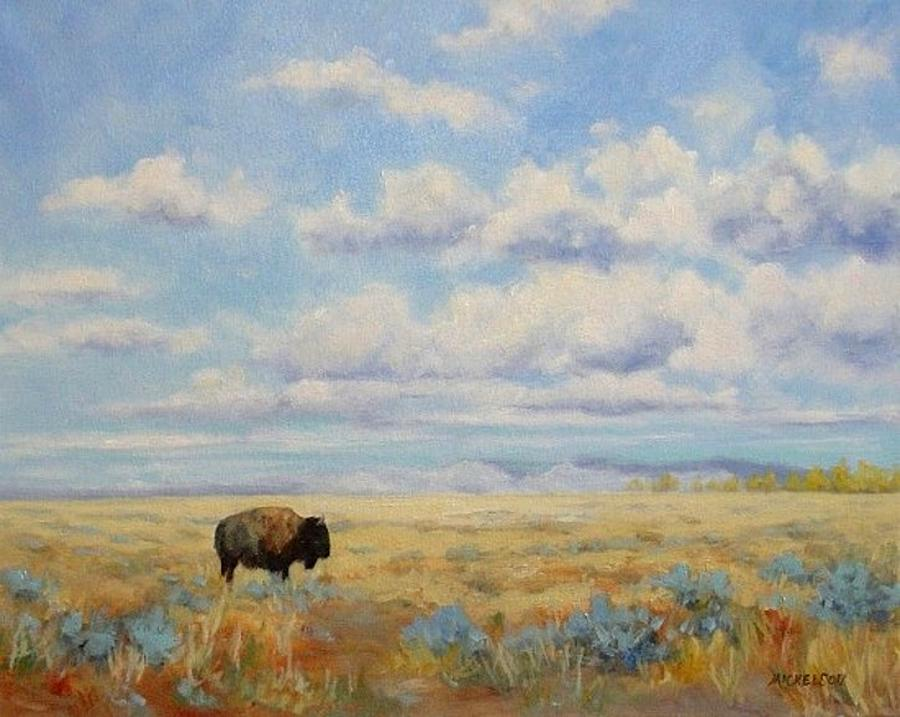Bison Painting - Under A Big Sky by Debra Mickelson