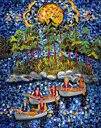 Canoeing Painting - Under A Full Moon by Linda Sharpe