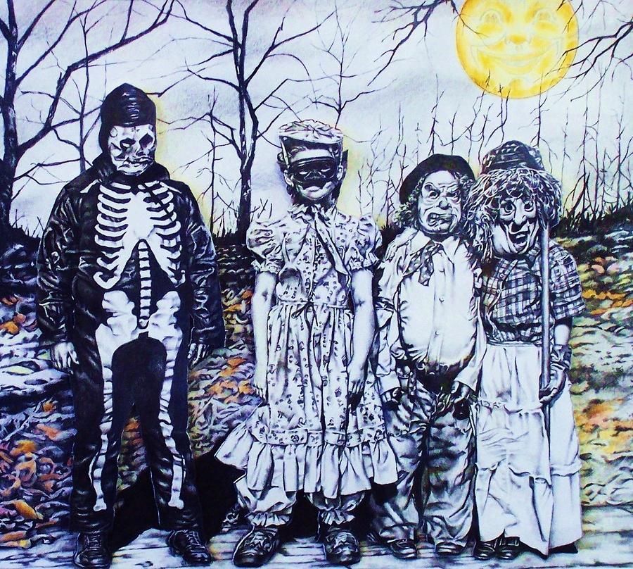 Halloween Mixed Media - Under A Halloween Moon by Michael Lee Summers