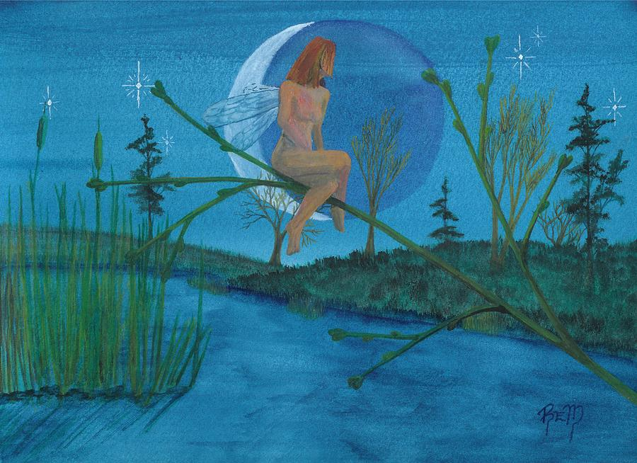 Landscape Painting - Under A Spring Moon... by Robert Meszaros
