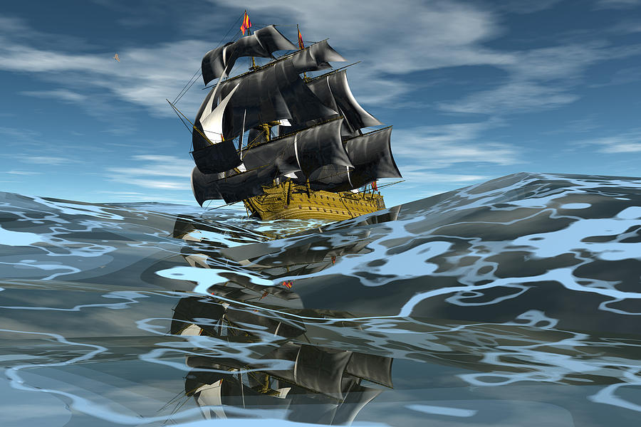 Bryce 3d Fantasy   Seas Seascape tall Ships Windjammer Digital Art - Under Full Sail by Claude McCoy