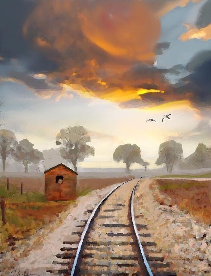 Train Tracks Painting - Under Gods Eye by Craig Nelson