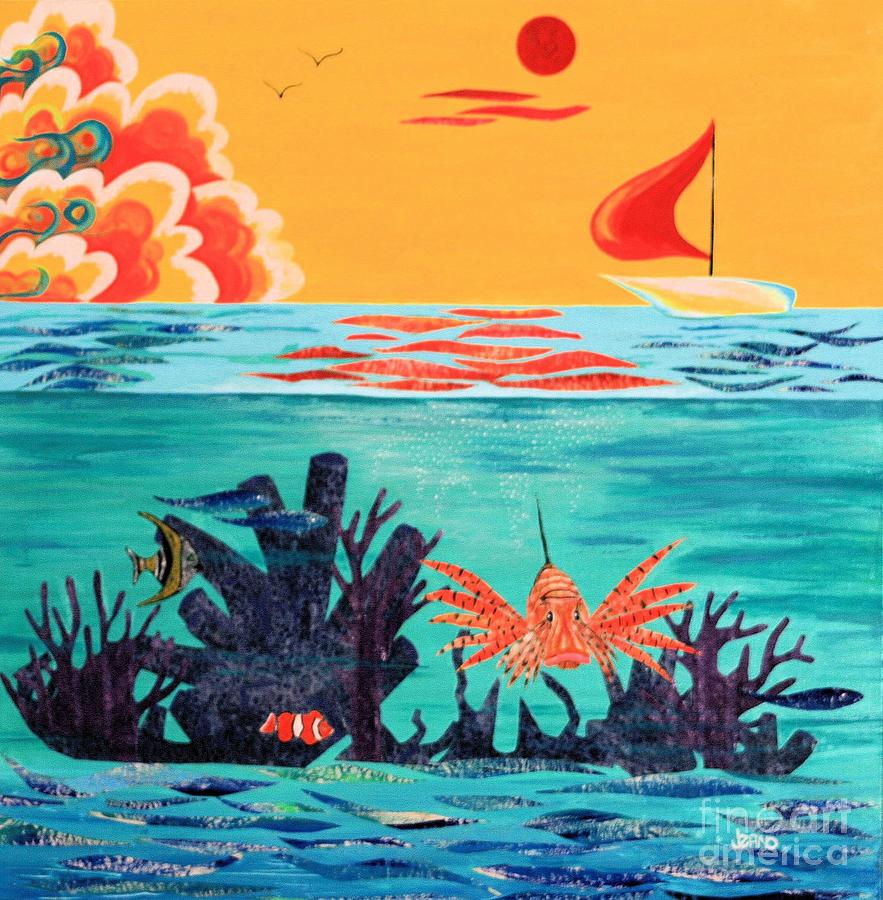 Marine Mixed Media - Bright Coral Reef by Jean Clarke