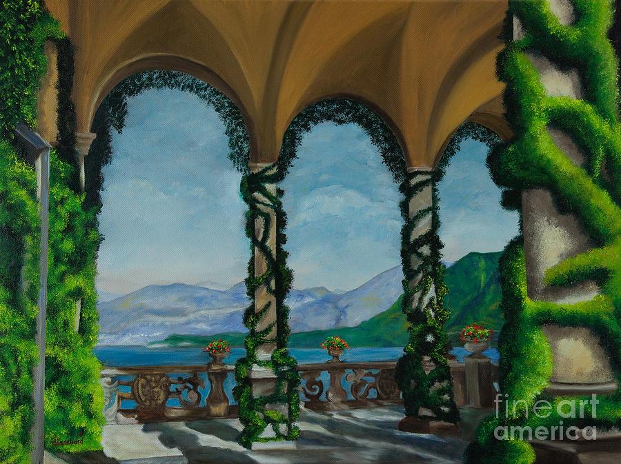 Lake Como Bellagio Painting - Under The Arches At Villa Balvianella by Charlotte Blanchard