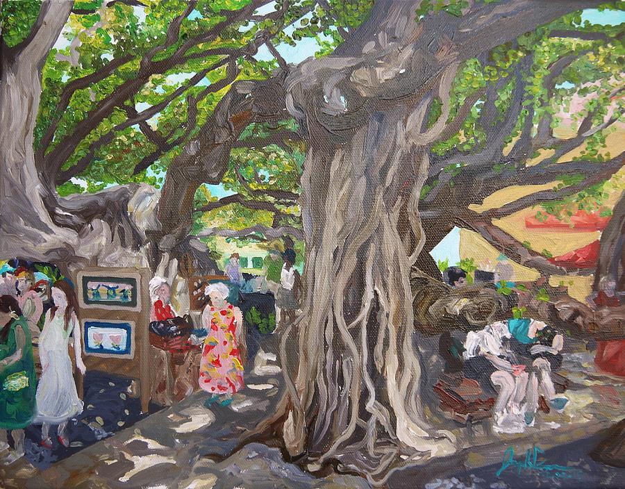 Banyon Painting - Under The Banyon Tree by Joseph Demaree