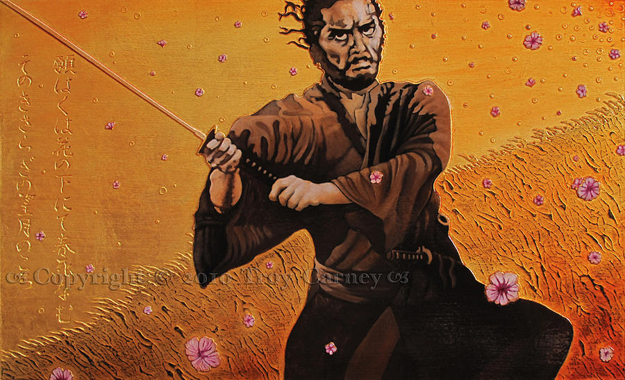 Samurai Painting - Under The Blossoms by Troy Carney