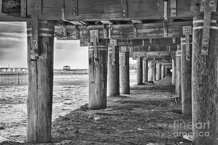 Black white photograph under the boardwalk black and white beach print by pictures hdr