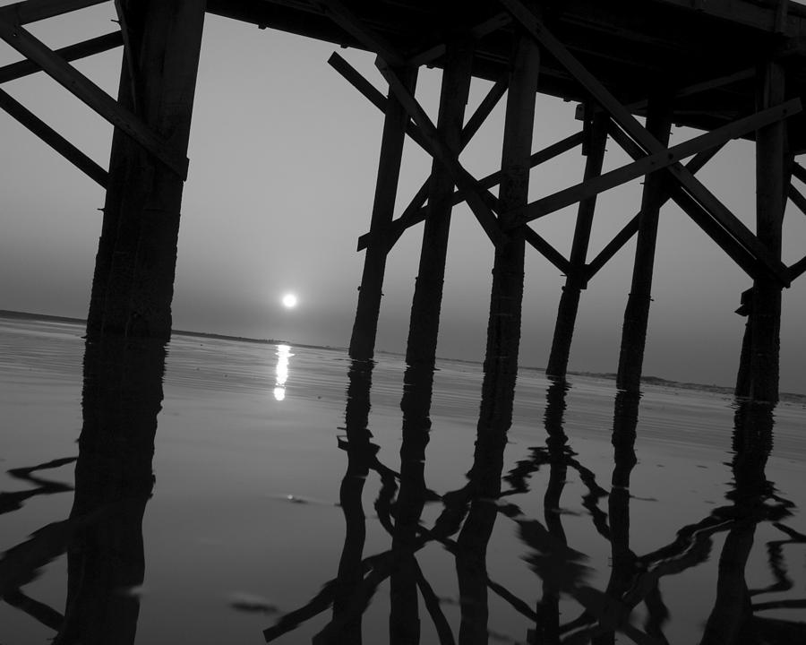 Black And White Photograph - Under The Boardwalk Bw1 by Tom Rickborn