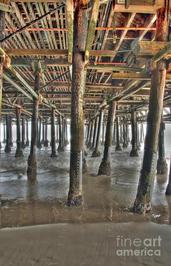 Under The Boardwalk Photograph - Under The Boardwalk Pier Sunbeams  by David Zanzinger