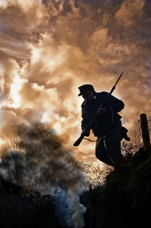 Soldier Photograph - Under The Burning Sky by Mark H Roberts