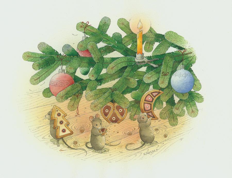 Under The  Christmas Tree Painting by Kestutis Kasparavicius