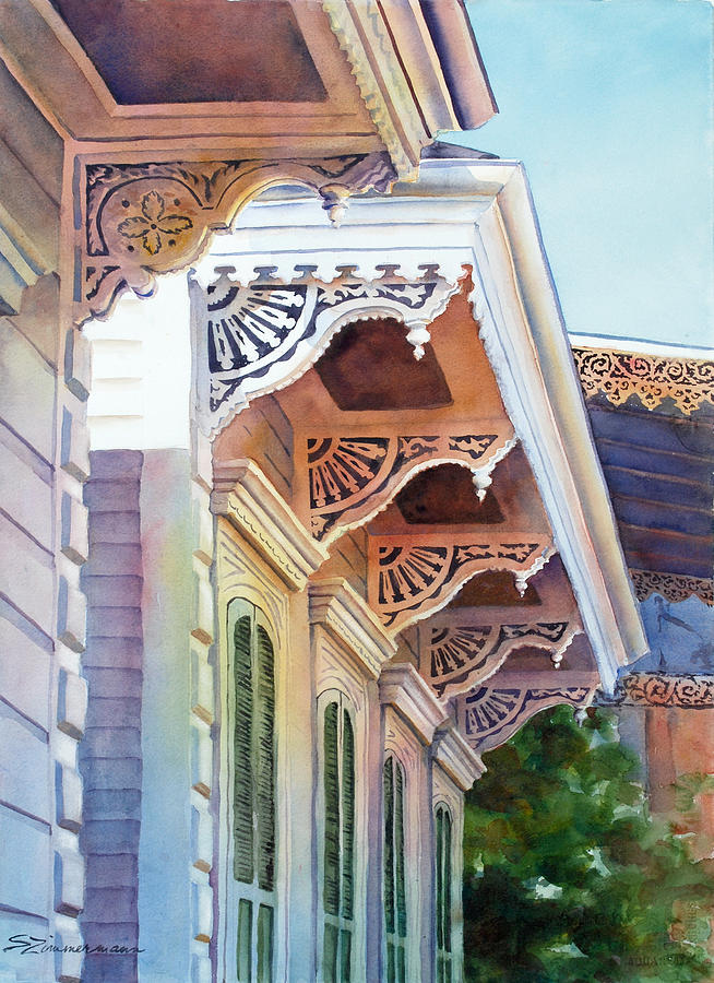 Architecture Painting - Under The Eaves by Sue Zimmermann