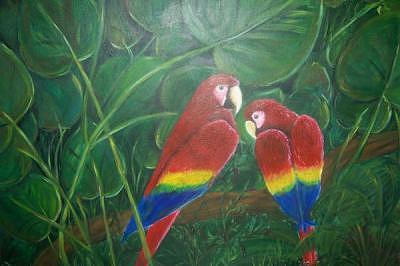 Parrots Painting - Under The Jungle Canopys Veil by Jennifer Watier