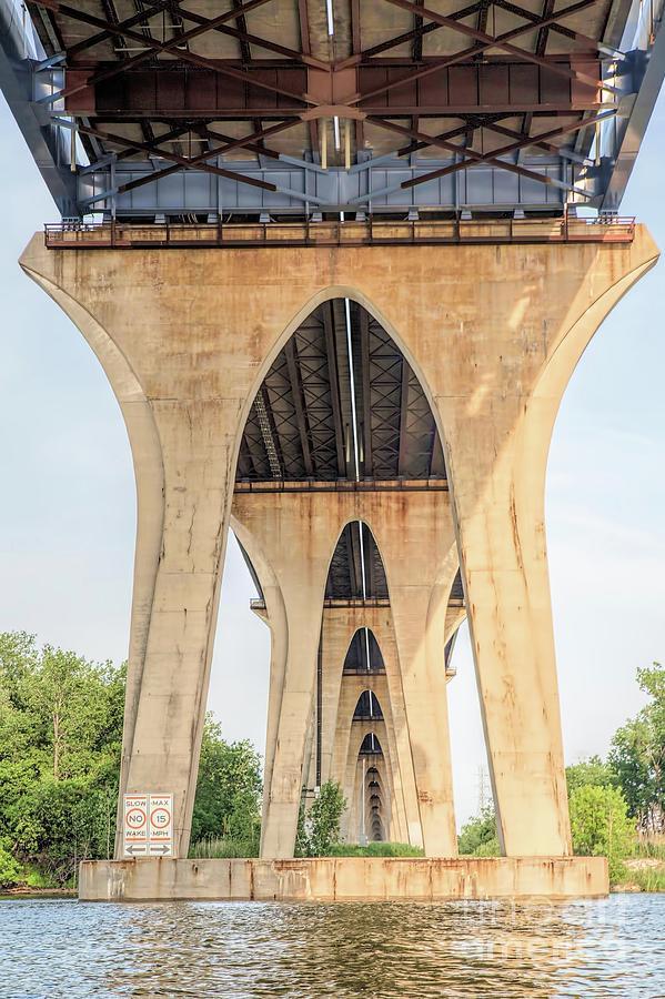Bridges Photograph - Under The Leo Frigo Bridge Green Bay  by Nikki Vig