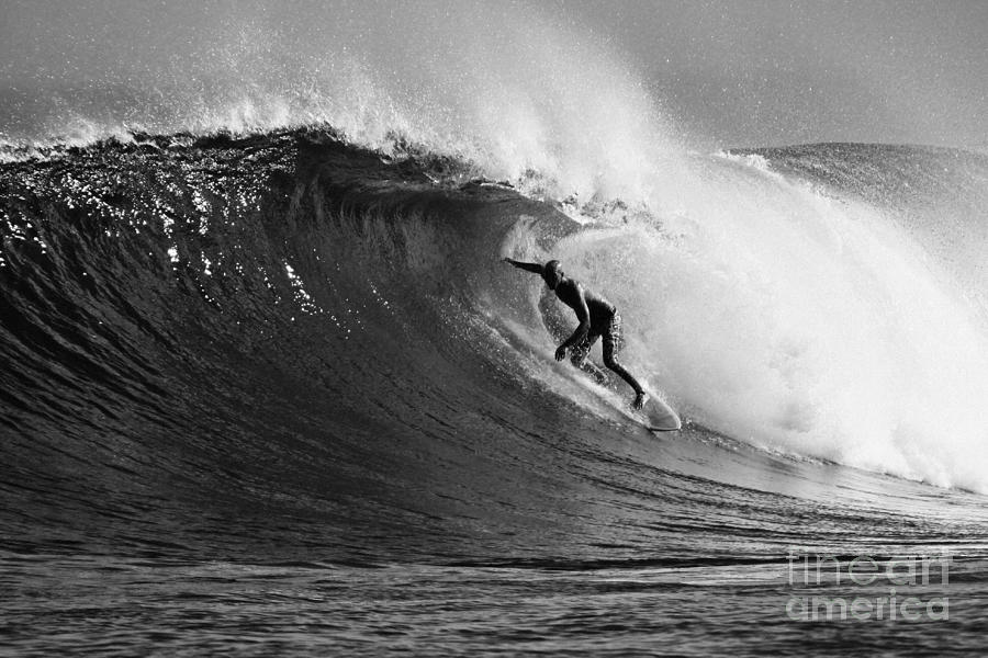 Surf Photograph - Under The Lip In Black And White by Paul Topp