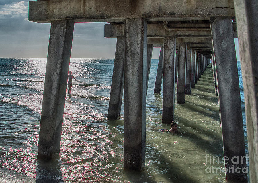 Pier Photograph - Under The Naples Pier by Judy Hall-Folde
