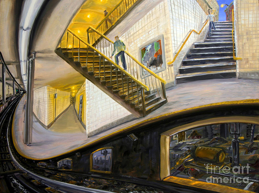 Subway Painting - Under The Platform by Arthur Robins