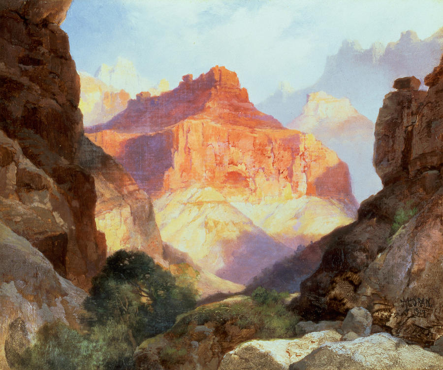 Grand Canyon Of Arizona Painting - Under The Red Wall by Thomas Moran