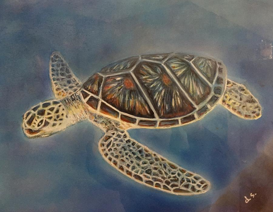 Sea Turtle Mixed Media - Under the sea by Diane Sleger