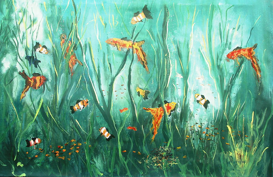 under the sea I Painting by Miroslaw  Chelchowski
